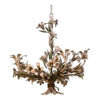 Vintage Tole Floral Chandelier
