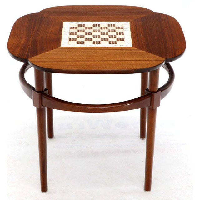Pair of Clover Shape Tile and Walnut Top Round End Side Occasional Tables For Sale - Image 10 of 13
