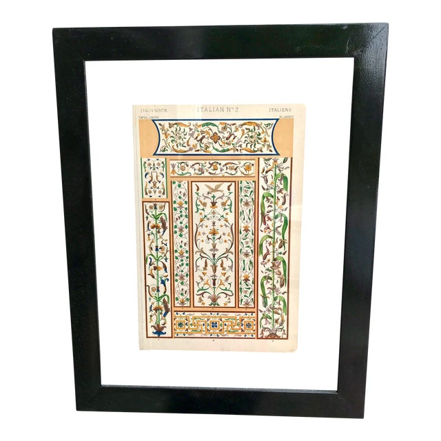Mid 19th Century Antique Italian Glass Framed Print For Sale
