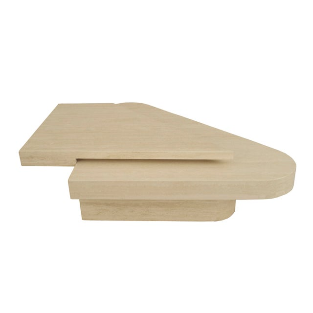 Modern American Two-Tiered Geometric Travertine Coffee Table For Sale - Image 3 of 5
