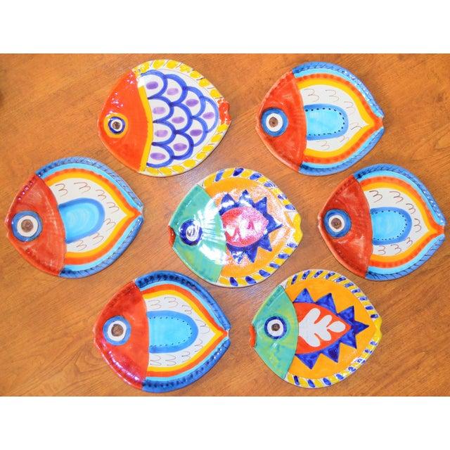 1980s Boho Chic DeSimone Terra Cotta Fish Plate For Sale - Image 9 of 13