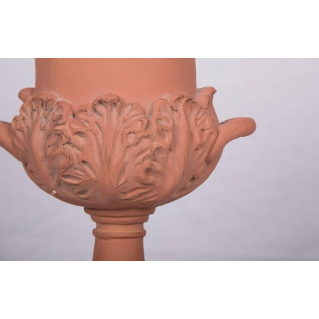 Campaign Neoclassical Terracotta Urns on Decorated Plinths - a Pair For Sale - Image 3 of 5