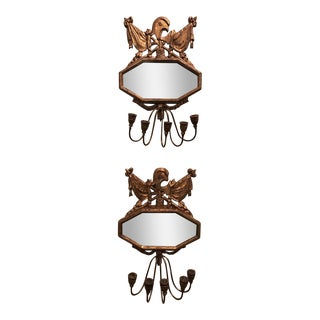French Carved & Gilded Wood, Iron & Gold Leaf Sconces - A Pair