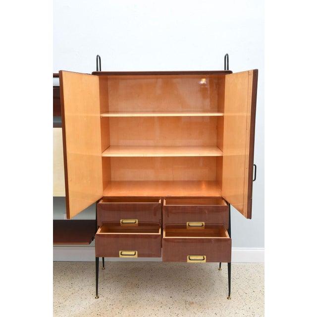Gold Italian Modern Mahogany and Brass Bar Cabinet or Bookcase, Silvio Cavatorta For Sale - Image 8 of 10