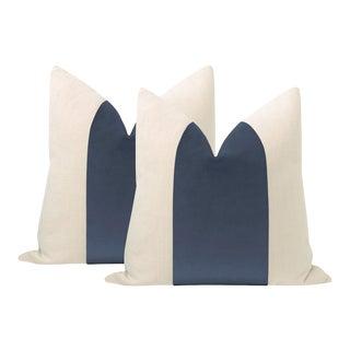 """22"""" Capri Blue Velvet Panel + Linen Pillows - a Pair For Sale"""
