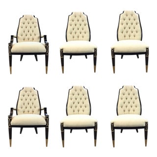 Caracole Modern Tufted White Linen Dining Chairs Set of Six For Sale