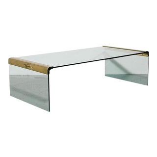 Long Brass and Glass Coffee Table by Pace For Sale
