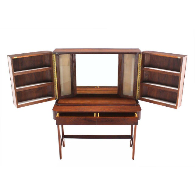 Rosewood Art Deco Open Up Vanity with Light and Matching bench For Sale - Image 10 of 10