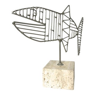 1970s Mediterranean Wire Fish Sculpture on Travertine Base