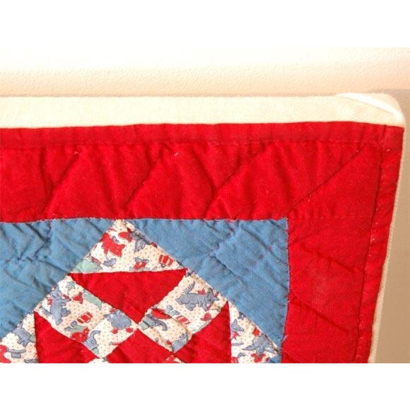 1930s Red, White and Blue Doll Quilt For Sale In Los Angeles - Image 6 of 9