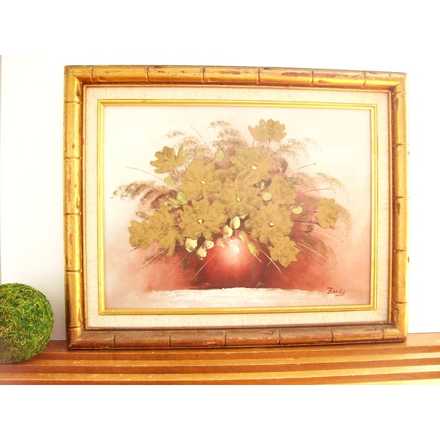 Original Floral Painting with Gold Bamboo Frame - Image 3 of 7
