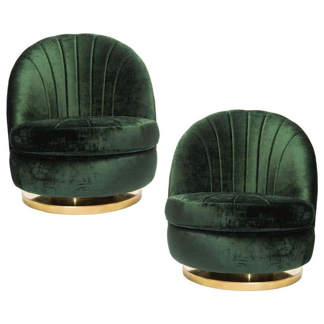 Green Milo Baughman Tilt and Swivel Lounge Brass Chairs - A Pair For Sale In Dallas - Image 6 of 6