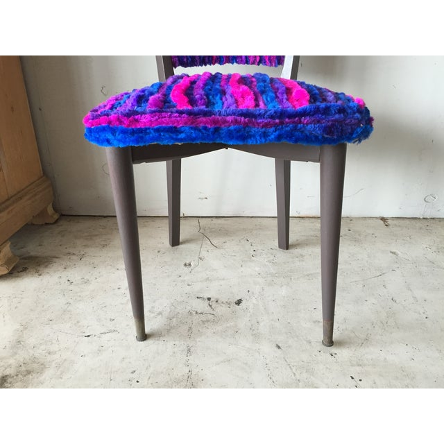 Vintage 1960s Furry Striped Accent Chairs - A Pair - Image 10 of 10