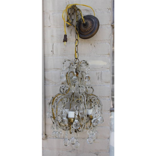French French Crystal Beaded Three-Light Chandelier For Sale - Image 3 of 5