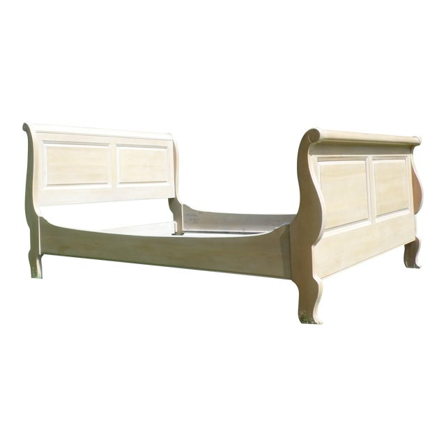 Vintage Ethan Allen Country French Bisque Birch Full Double Sleigh Bed - Image 1 of 11
