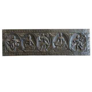 Vintage Indian Buddha Headboard Mediation Wall Sculpture For Sale