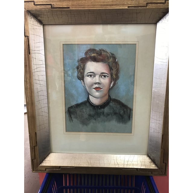 Vintage Female Portrait Chalk Drawing - Image 4 of 7
