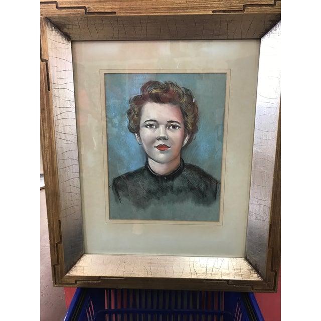 Vintage Female Portrait Chalk Drawing - Image 4 of 7