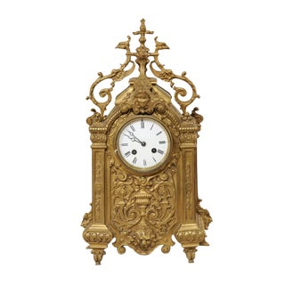 Late 19th Century French Brass Freestanding Mantel Clock For Sale