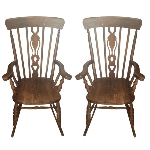 Wooden Rocking Chairs - A Pair - Image 1 of 6