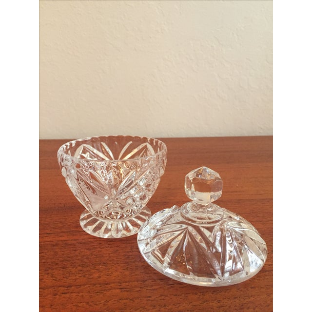 Vintage Cut Glass Cream & Sugar Set with Lid For Sale In San Francisco - Image 6 of 10