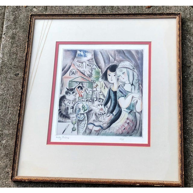 1930's Deco Miley Possez Original Colored Etching Framed For Sale - Image 4 of 6