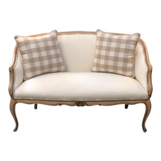 Late 19th Century Antique Upholstered Walnut Bench Settee For Sale
