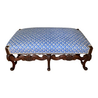 Antique Hand Carved Italian Wood Bench With New China Seas Upholstery For Sale