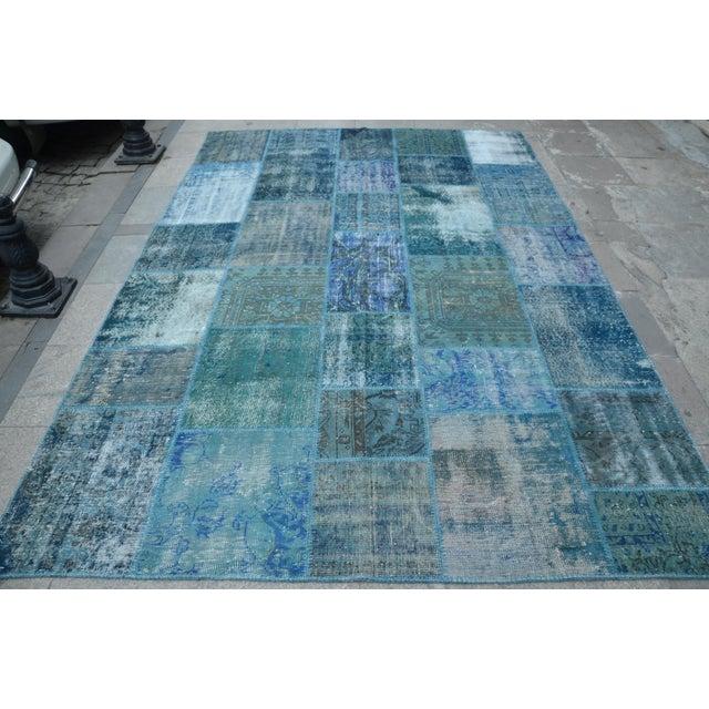 Blue Turkish Patchwork Rug - 6′10″ × 9′10″ - Image 2 of 6