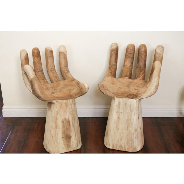 1960s Hand Carved Teak Hand Chairs in the Style of Pedro Friedeberg - a Pair For Sale - Image 5 of 5