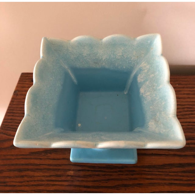 1950s Final Markdown! Hull Blue Stemmed Square Planter Usa Number 38 Pottery Mid-Century Vintage For Sale - Image 5 of 7
