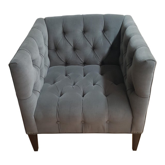 Contemporary Wesley Hall Tufted Club Chair For Sale