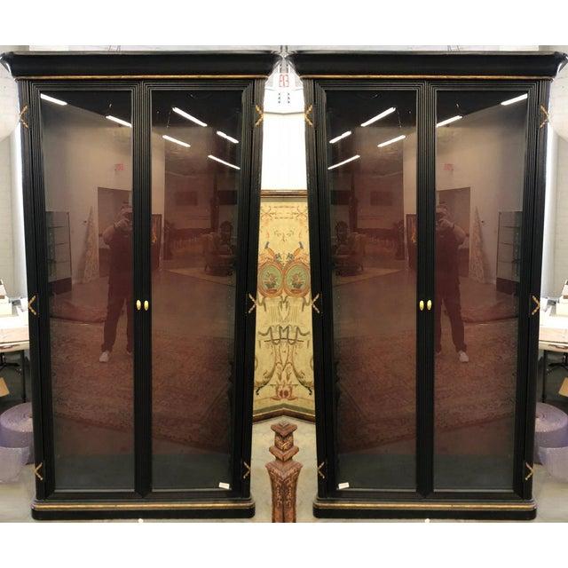 Empire Pair of Erika Brunson for Randolph & Hein Black & Gold Vitrine Showcase Cabinet W Red Interior For Sale - Image 3 of 6