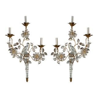 French Three-Light Bronze Sconces - a Pair For Sale