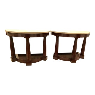Transitional Solid Wood Baker Side Tables - a Pair