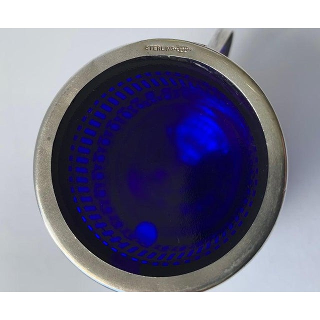 Metal Sterling Silver Mustard Pot With a Cobalt Blue Glass Liner For Sale - Image 7 of 9