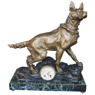 F. Pelissier French Bronze Shepherd Dog Statue Clock For Sale