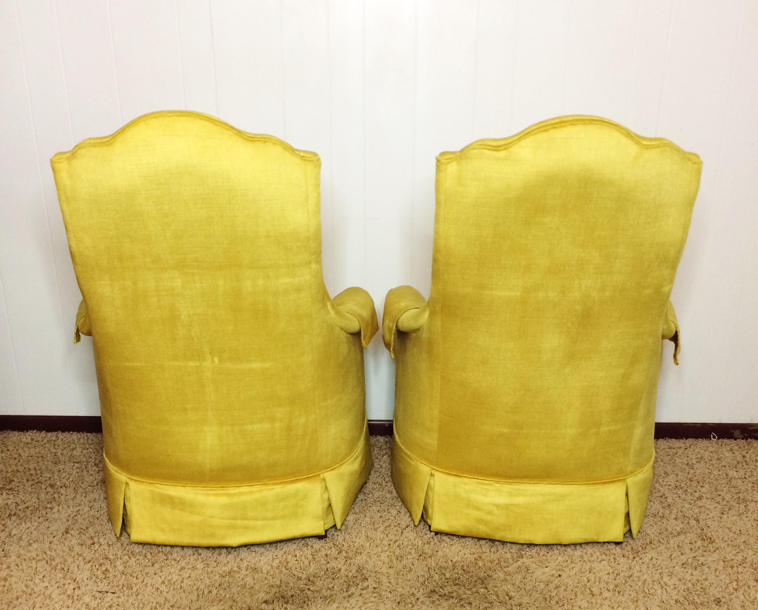 Textile Silver Craft Mid Century Gold Velvet Chairs   A Pair For Sale    Image