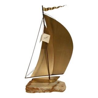 Demott California Brass & Onyx Sailboat Sculpture