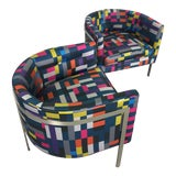 Image of Harvey Probber Style Club Chairs in Chrome and Knoll Fabric - a Pair For Sale