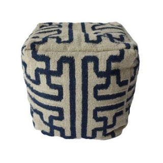 Black and White Dhurrie Pouf For Sale