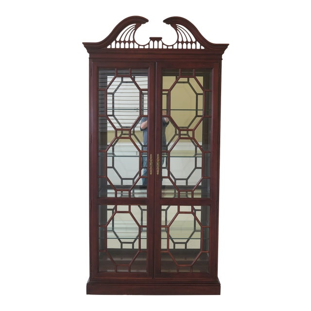 Lineage Chippendale Style Cherry 2 Door Curio Cabinet For Sale