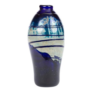 Hand-Blown Art Glass Vase/Vessel With Striated Drip Finish For Sale