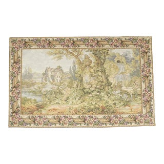 1980s French Aubusson Verdure Landscape With Cherub Wall Tapestry For Sale