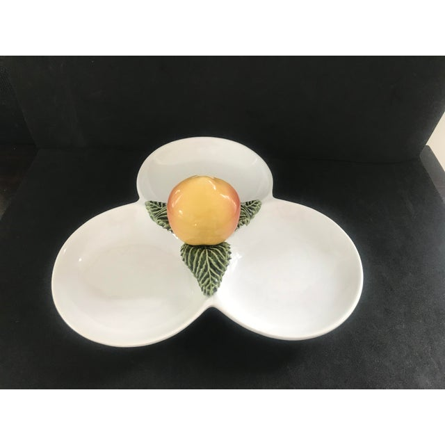 Wonderful Majolica 3 part serving dish made by Subtil. Incredibly crisp glaze, the apricot and green leaf are quite...