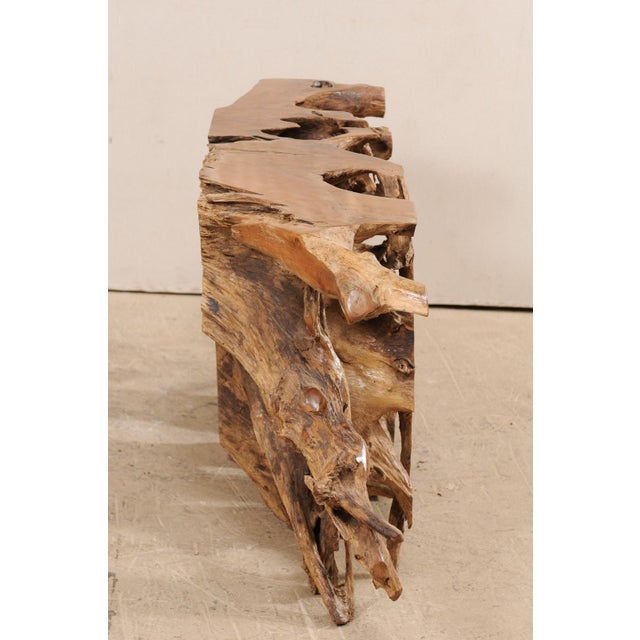 Contemporary Tropical Hardwood Teak Root Console Table For Sale - Image 3 of 12