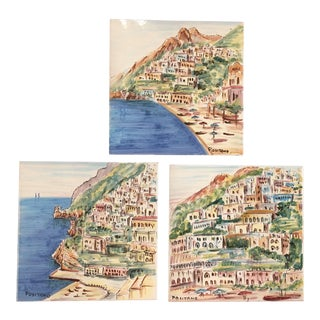 Vintage Italy Hand-Painted Terra Cotta Tiles - Set of 3