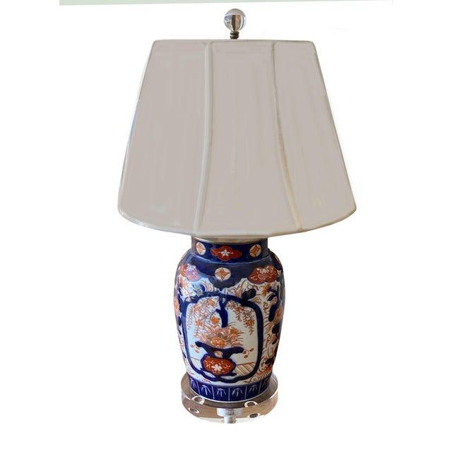 19th Century Imari Porcelain Lamp and Acrylic Base For Sale - Image 5 of 5