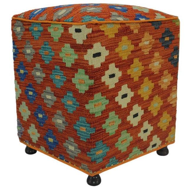 Hammer Orange Handmade Kilim Upholstered Ottoman For Sale - Image 4 of 8