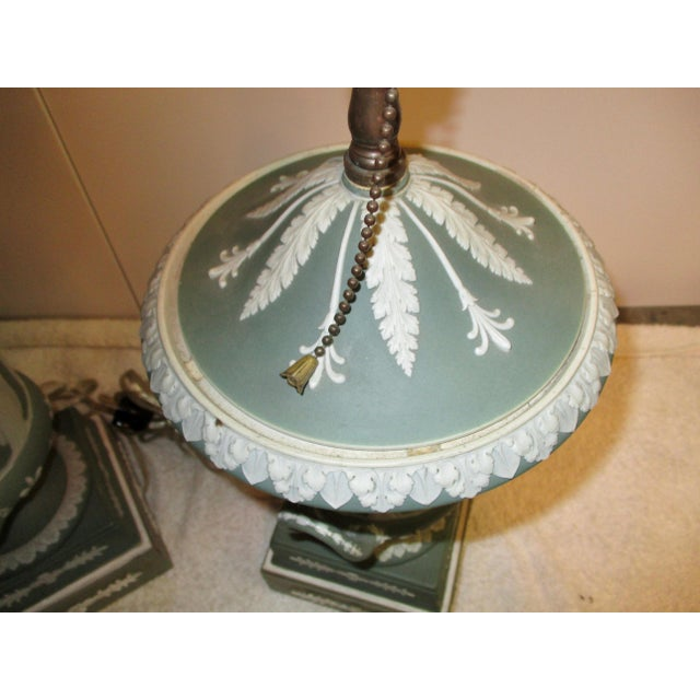 Wedgewood Jasperware Urns Mounted as Lamps - a Pair For Sale - Image 5 of 10